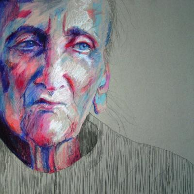 Rysunek ołówkami i pastelami olejnymi na tekturze, 70x70 cm