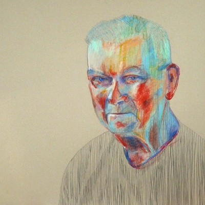 Pan JanRysunek ołówkami i pastelami olejnymi na tekturze, 70x70 cm
