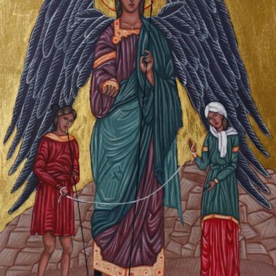 Archanioł Rafał z Tobiaszem i Sarą